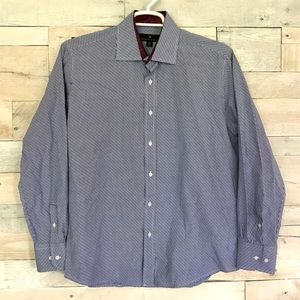 Bristol & Bull Blue White Long Sleeve Dress Shirt